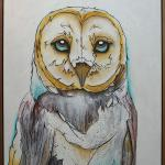 """Barn Owl"" 39"" x 40"" Framed in Walnut Acrylic on Canvas $4000.00"