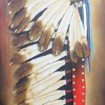 """Precious Metals War Bonnet"" 36"" x 72"" Acrylic on Canvas $10,300.00"